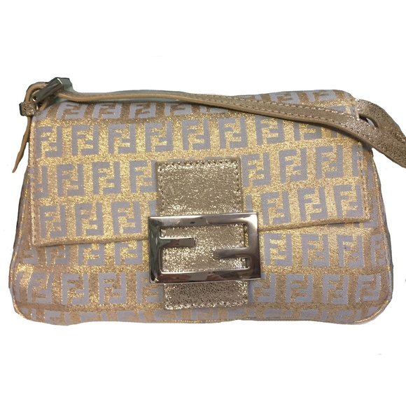 a6ba520161 Fendi Gold   Silver Blue Metallic Mini Mamma Bag